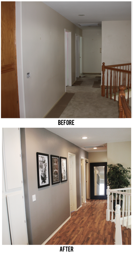 Before & After hallway makeover. Beautiful! Love the idea of tall mirror at end of hallway!