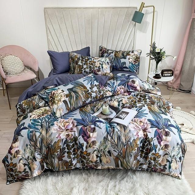 Botanic Paradise Egyptian Cotton Bedding Duvet Set 4/6 Pieces) - King size / 6 Pieces