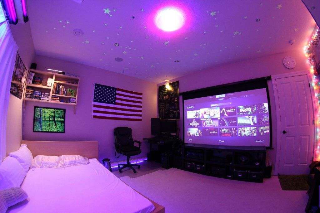 47 epic video game room decoration ideas for 2017 for Apartment bedroom setup ideas