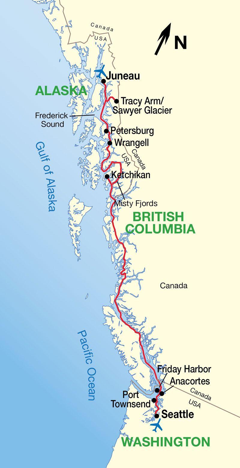 Alaska Inside Passage Cruise Map TravelSeattleAlaskan Cruise - Show me a map of alaska