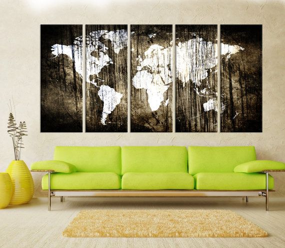 Extra Large Wall Art Canvas Abstract World Map Print Modern Decoration