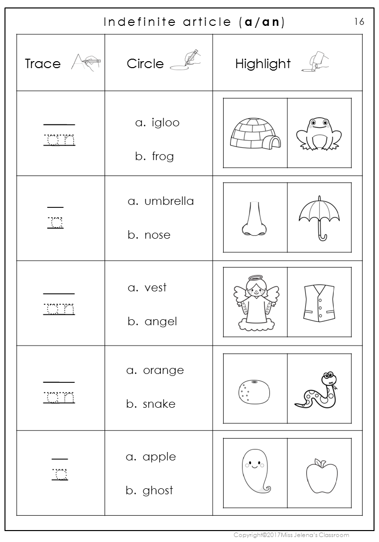 Workbooks inflectional endings first grade worksheets : FREE SAMPLE - Indefinite Article Worksheets | LANGUAGE ARTS- HANDS ...
