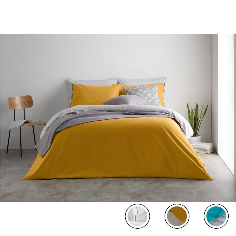 Solar 180tc 100 Cotton Reversible King Bed Set Mustard Mist Grey From Made Com Yellow Grey Express Delivery Ste Bedding Sets Bed Linen Sets Yellow Bedroom