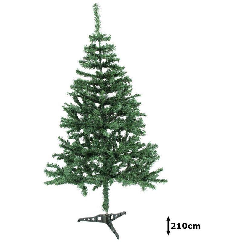 Sapin de Noël 210 cm décoration hiver arbre vert artificiel pied