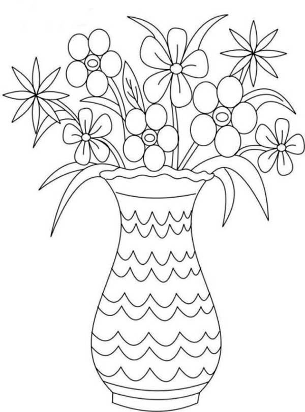 Picture Of Flower Bouquet In Vase Coloring Page Color Luna Flower Vase Drawing Flower Drawing Printable Flower Coloring Pages