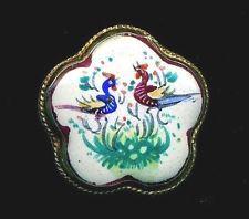 Antique Button…Persian Hand Painted Enamel Birds…Flower Shape…Set In Silver