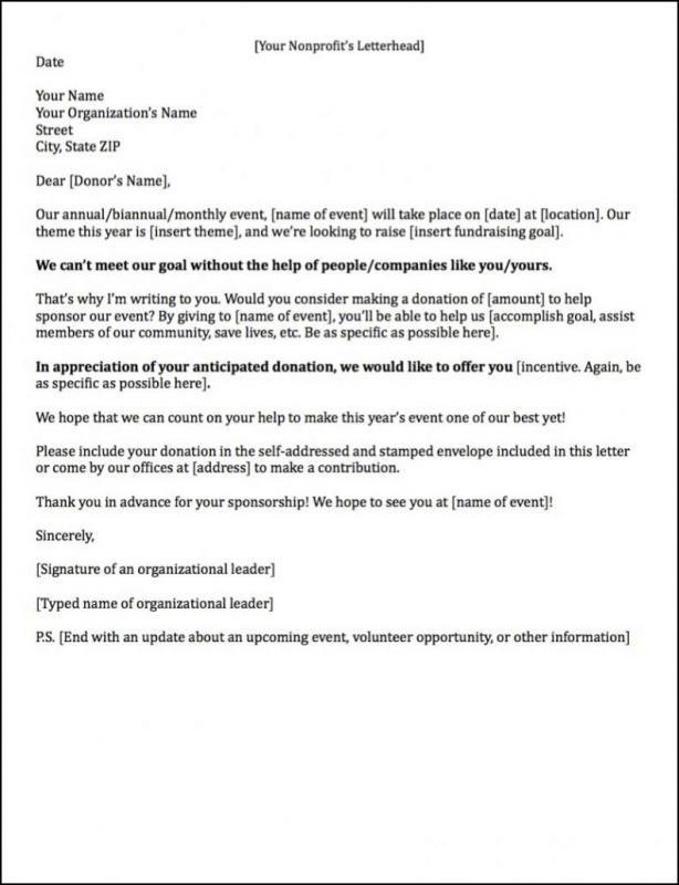 Event Sponsorship Letter Template Fundraising Letter