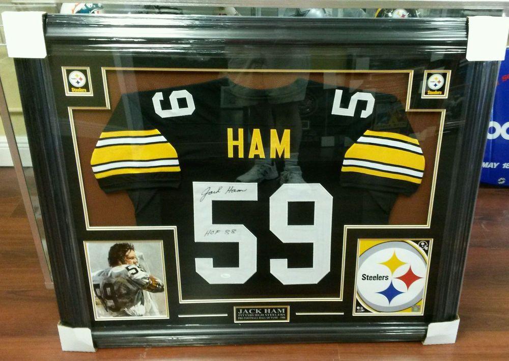 b38597762 Jack Ham Signed Pittsburgh Steelers Football Jersey Framed Display PSA COA