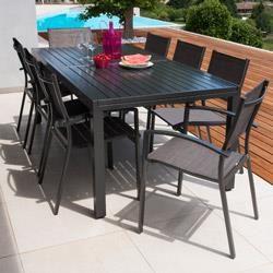 Salon de jardin: Table MALAGA 2/3M + 8 fauteuils ANTALYA | Malaga ...