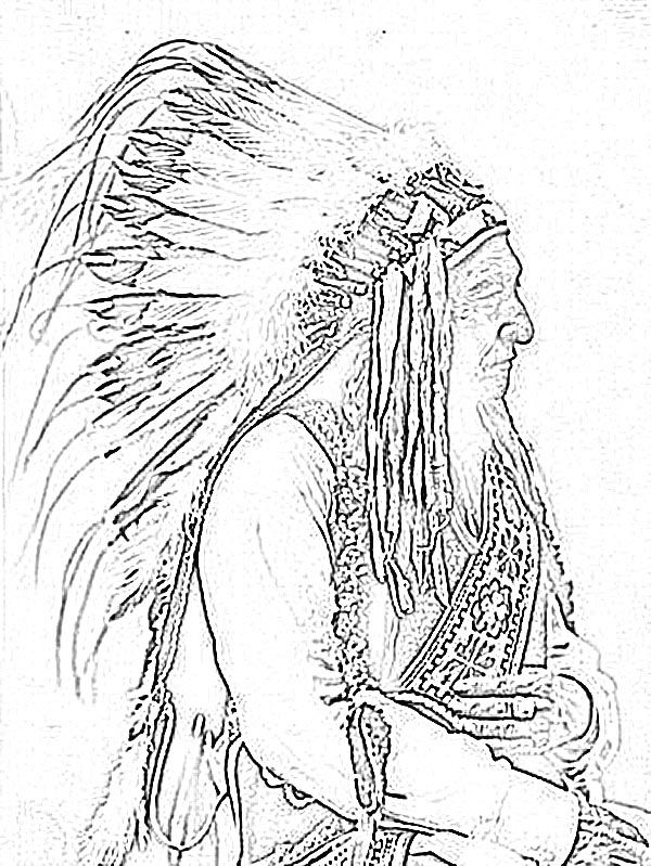 Animal Coloring Pages For Adults American Indian Chief