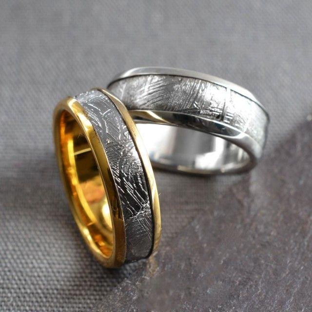 elegant meteorite ring gold and silver - Meteorite Wedding Rings