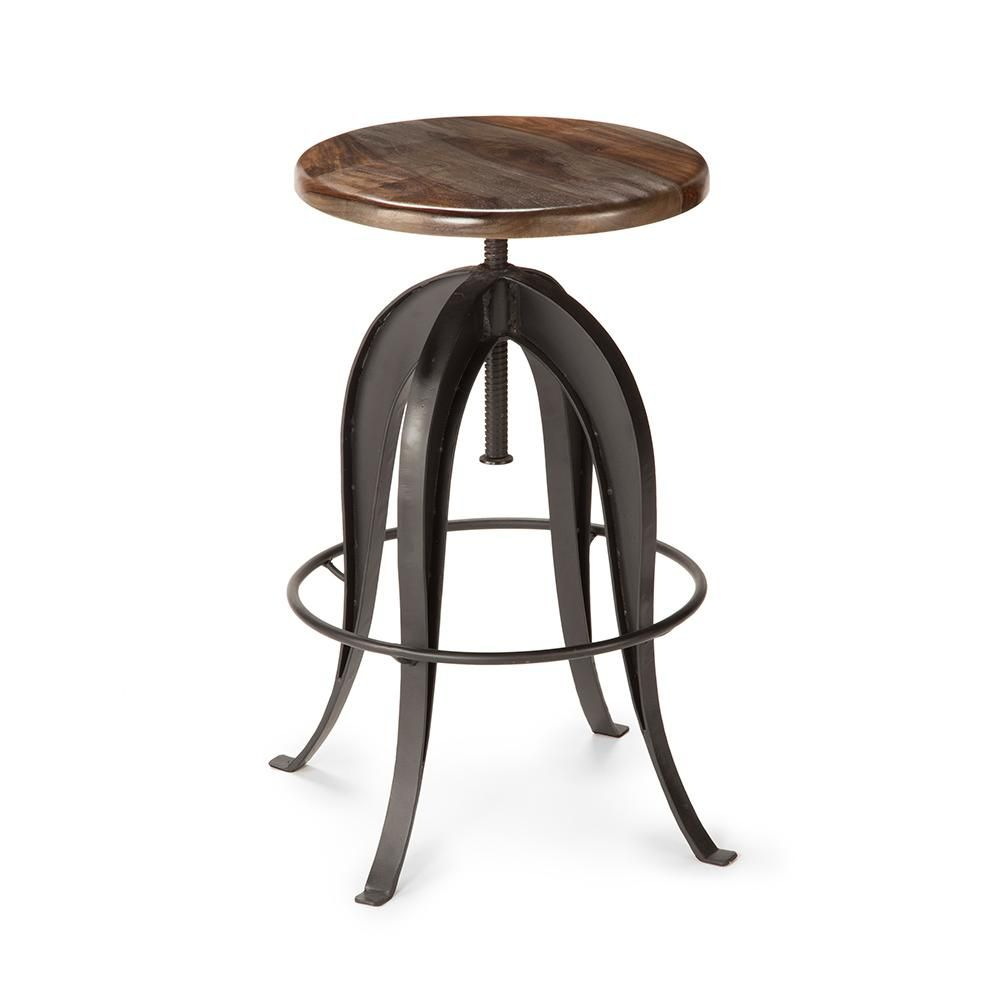 Steve Silver Sparrow Brown Round Bar Stool Adjustable Bar Stools