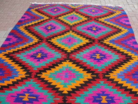 Turkish Antalya Handwoven Kilim Traditional Wool by misterpillow