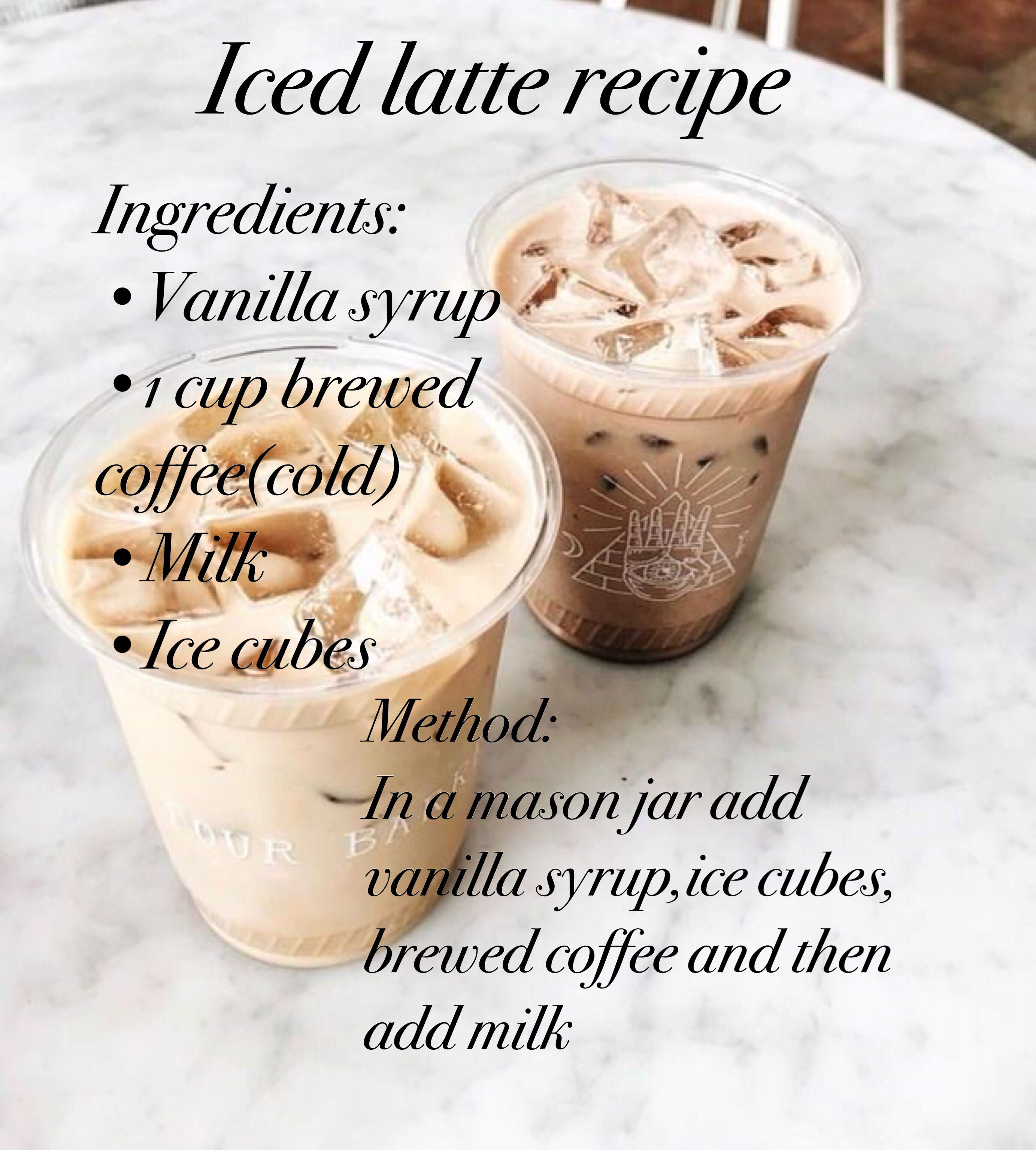Easy iced latte recipe Coffee drink recipes, Starbucks