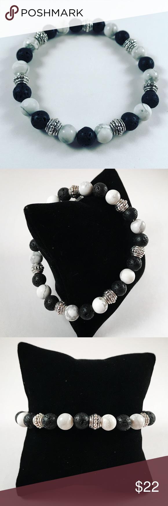 Men white howlite lava rock silver beaded bracelet men bead