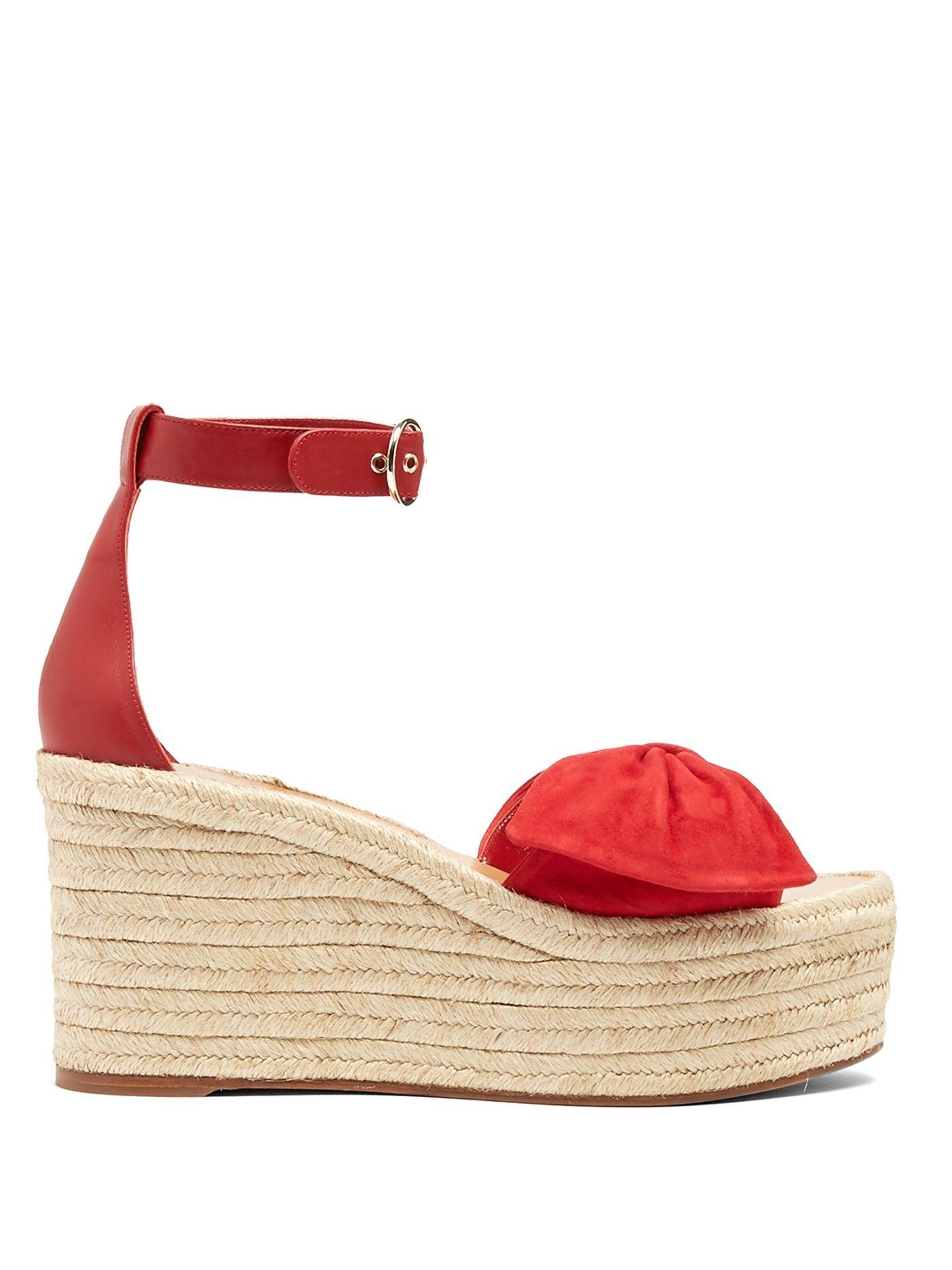 Tropical Bow suede espadrille wedge sandals | Valentino | MATCHESFASHION.COM