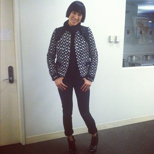 NYFW day two: Eva Chen wears a sparkling Proenza jacket and black Topshop Baxter jeans.