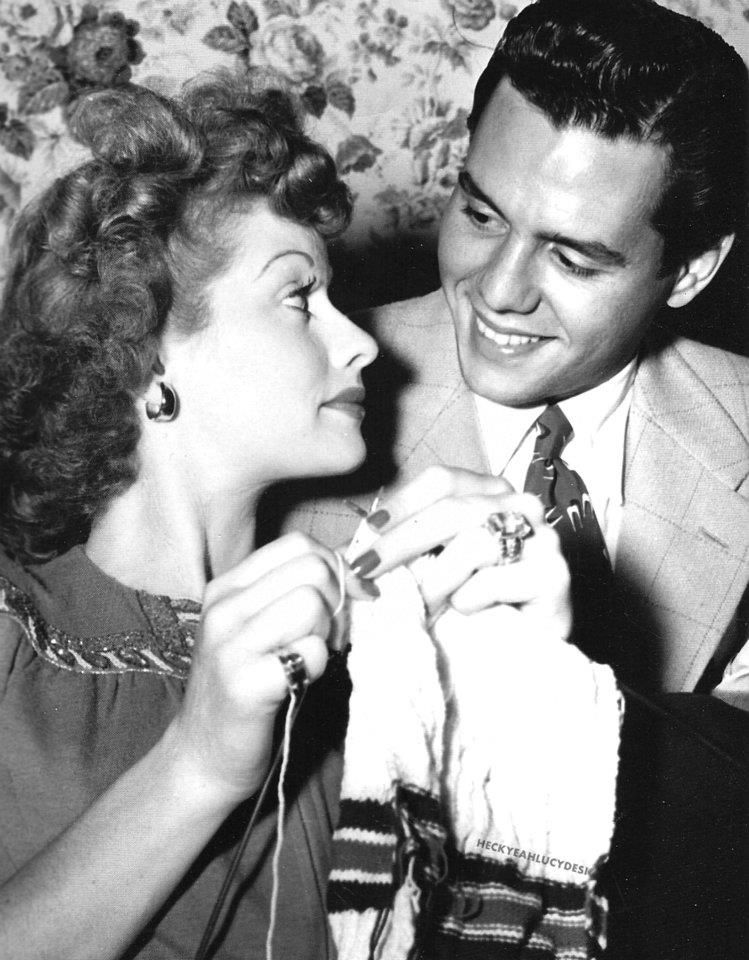 Lucille Ball knitting while gazing into Desi's eyes.
