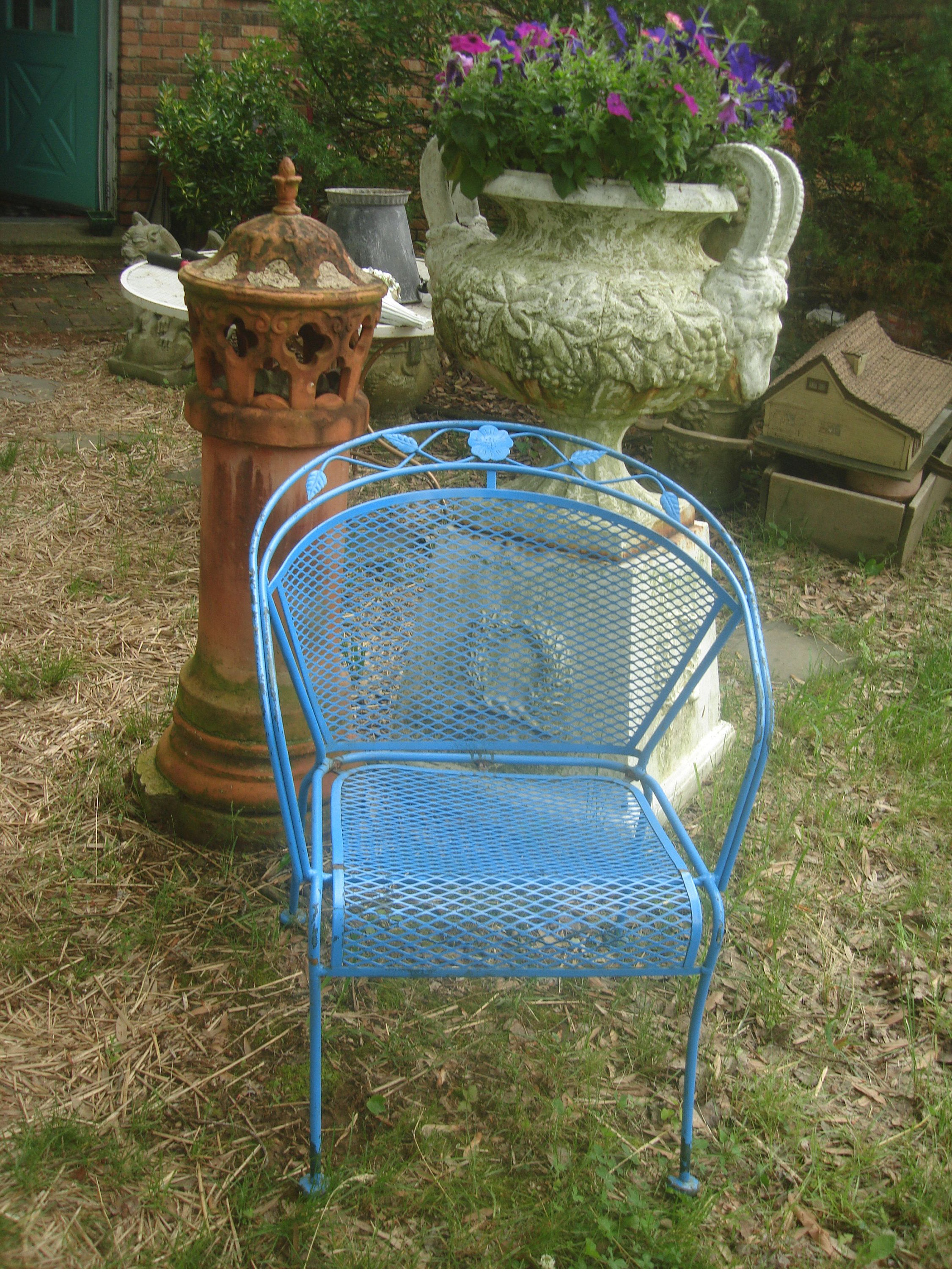 Vintage Metal Outdoor Chair Antique Ornate Iron Garden French Blue Elegant Lawn By Stinkytinkystreasure On Etsy