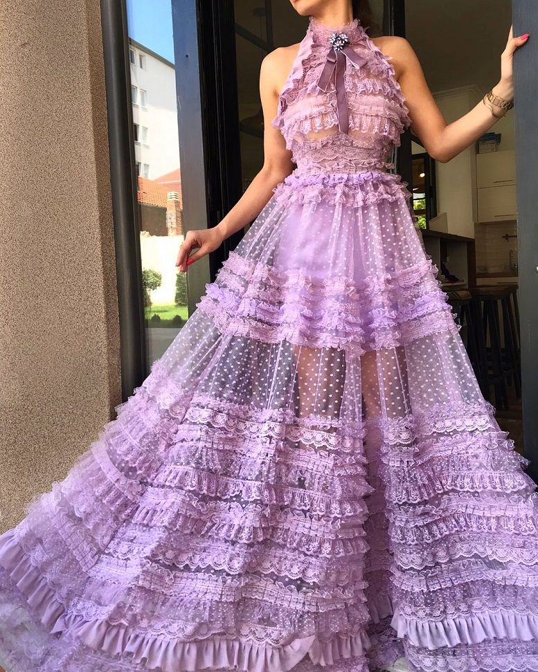 Halter neck lilac prom dress #promgown #prom #dress