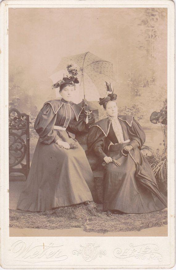 e420ed9ba3ce8 Rain or Shine- 1800s Antique Photograph- Victorian Women- Open Umbrella-  Parasol- F J Weber- Erie, PA- Cabinet Photo- Paper Ephemera