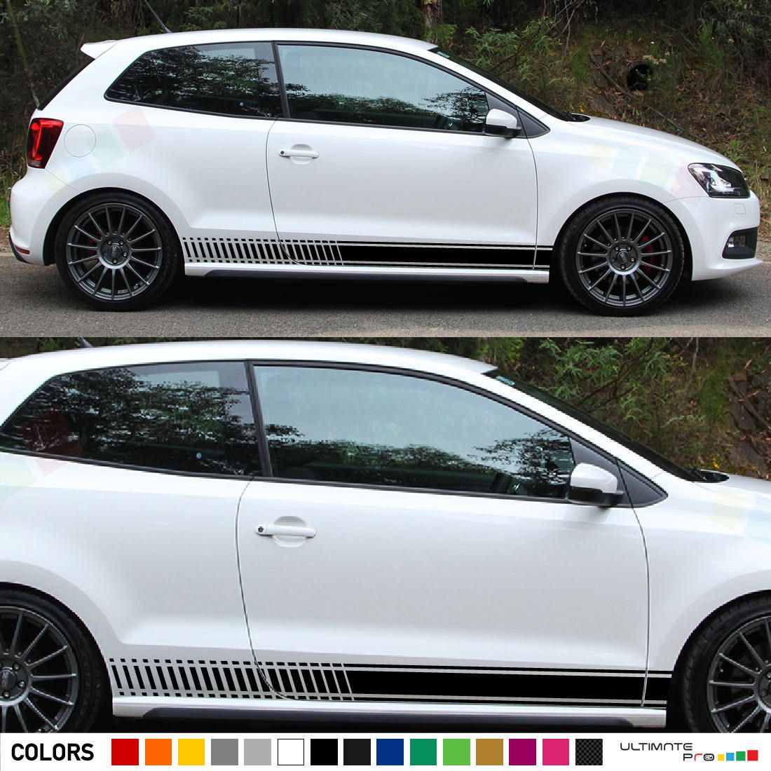 Set Of Racing Side Stripes Decal Sticker Graphic Compatible With Volkswagen Vw Polo Gti Mk4 3 5 Door Hatchback Volkswagen Polo Volkswagen Vw Polo [ 1100 x 1100 Pixel ]