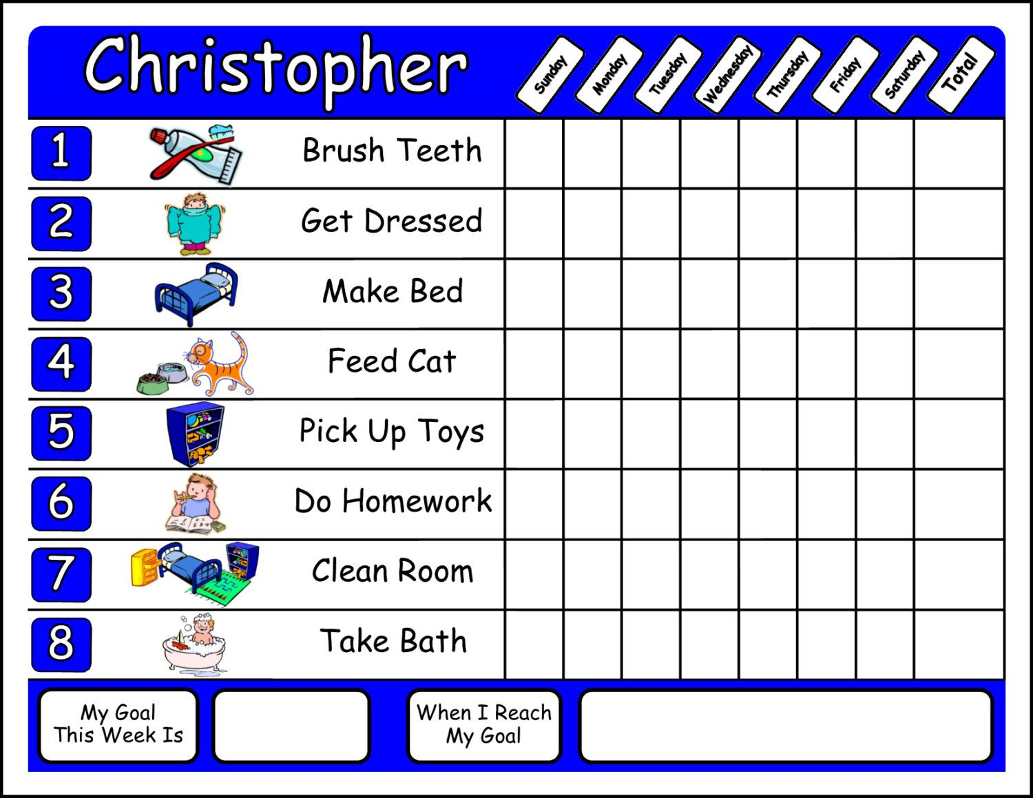 Chore Chart With Your Choice Of Chore Pictures Shipped