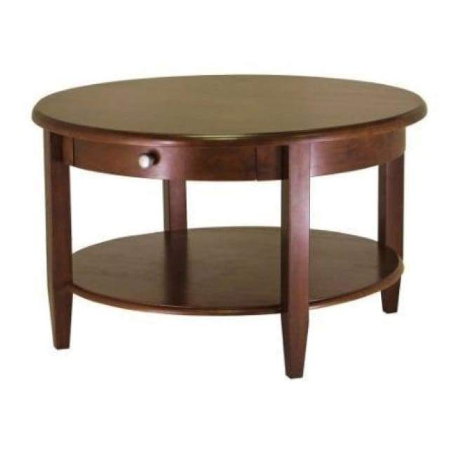 Circular Wood Coffee Table with Bottom Shelf and Drawer is part of Formal Living Room Coffee Table - composite wood with Antique Walnut finish and chromecolored pull  Concealed drawer and open bottom shelf for storage and display  Assembly required Dimensions  30 x 30 x 18 inches  Weight 46lbs   Shipping Weight 43 2lbs  Includes FREE Shipping! Usually Ships in 24 Business Days