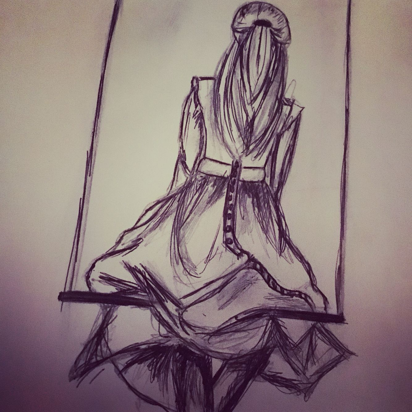 #girl #lonely #swing #drawing #shading #pen #pencil