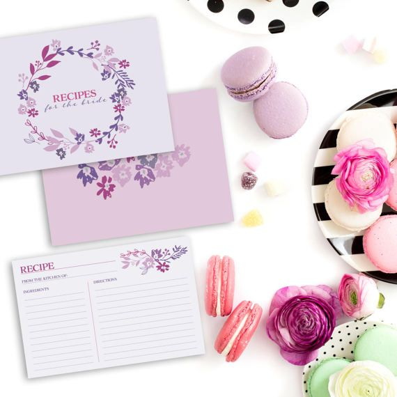 purple floral recipe cards bridal shower recipe cards bridal shower invitation insert printable