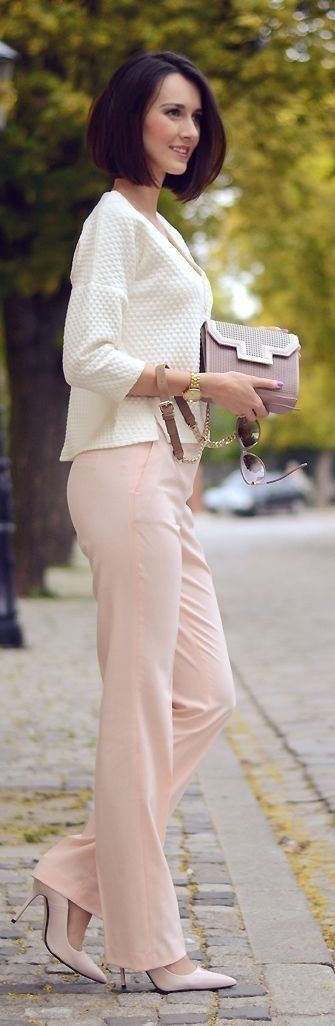 #nude #neutrals #spring #style #outfitideas |Nude Pants + White | Daisyline                                                                             Source