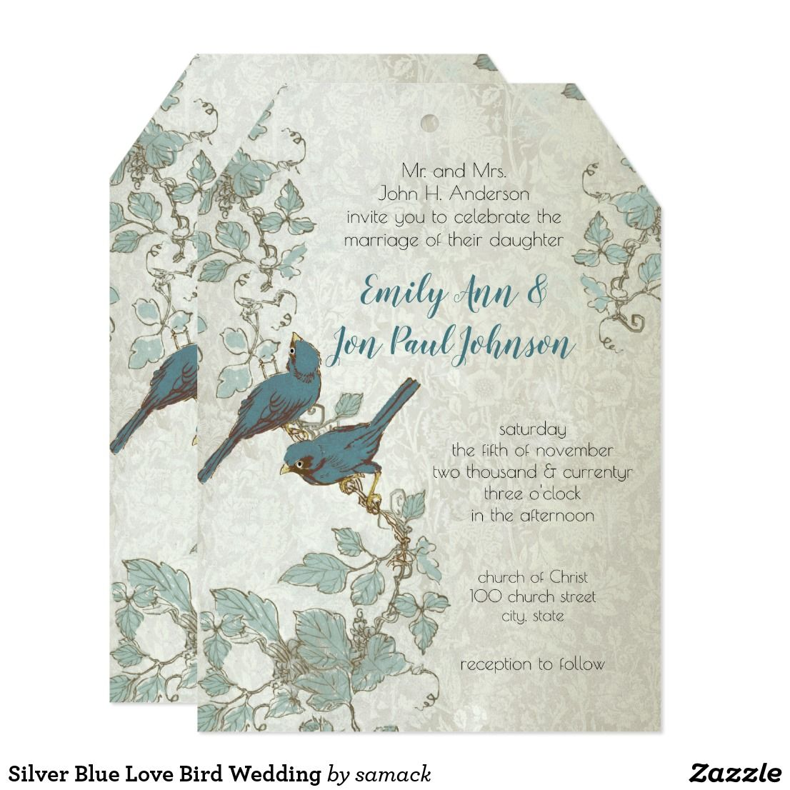 Silver Blue Love Bird Wedding Card | Wedding card, Invites wedding ...
