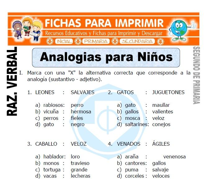 Ficha De Analogias Para Niños Para Segundo De Primaria