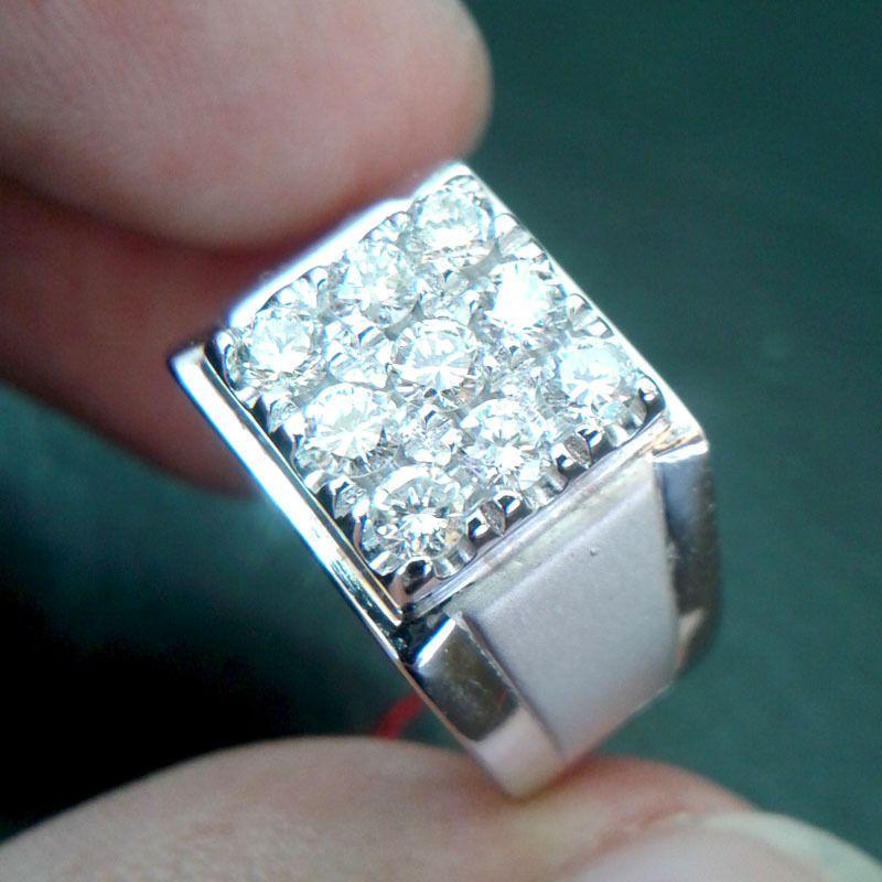 0.5CT Round D/VVS1 Diamond Cluster Men's Band Ring in 14k White Gold Over #RegaaliaJewels #MensRing