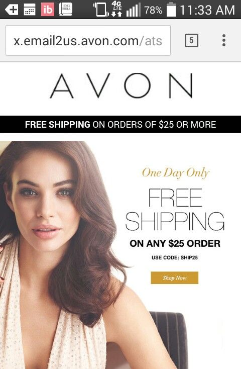 TODAY ONLY Free Shipping on any $25 order at www.youravon.com/summarah