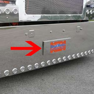 Peterbilt 388/389 stainless steel tow hook cover