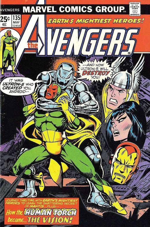 Comic Book Critic - Google+ - The Avengers #135 (May '75) cover by Jim Starlin & John Romita (floating heads).