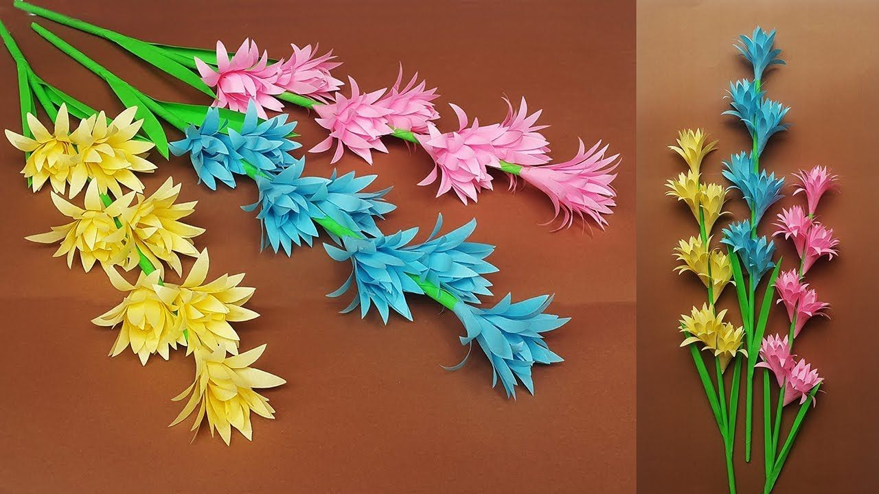 Make Beautiful Paper Stick Flower Diy Hand Craft Ideas For Room