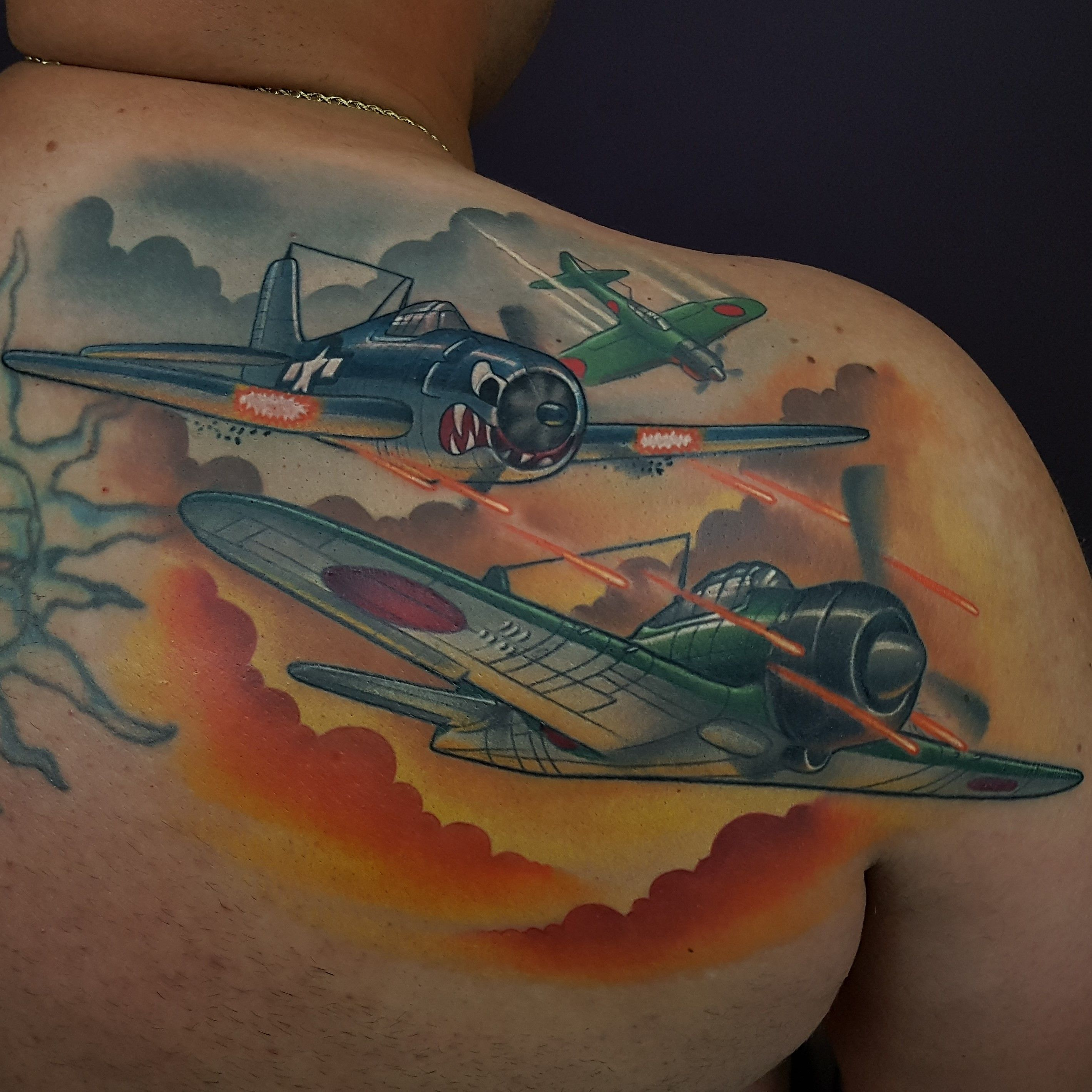 Fighter jet tattoo by cracker joe swider in ct tattoos