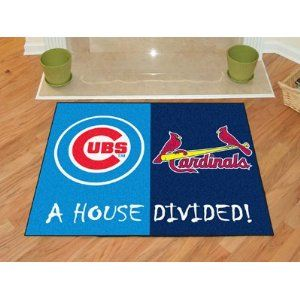 """Chicago Cubs MLB - St. Louis Cardinals House Divided Rugs 34"""" X 45"""""""