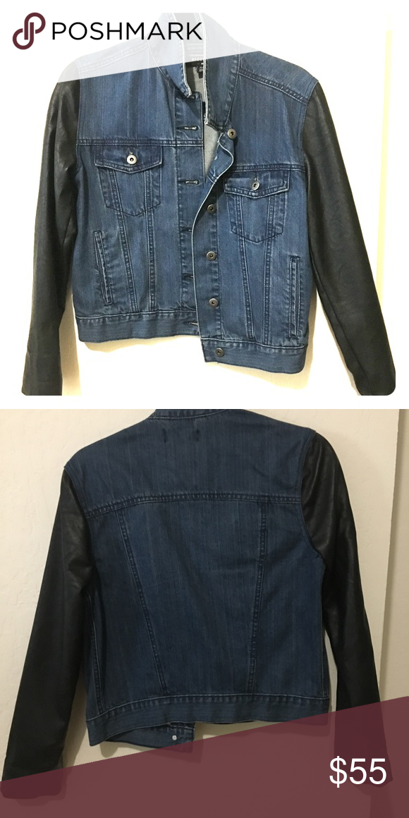 Denim Jacket with Faux Leather Sleeves This is a mixed media jacket by UO brand byCorpus.  Jacket is lightly worn (no signs of wear) and in great condition. Urban Outfitters Jackets & Coats Jean Jackets