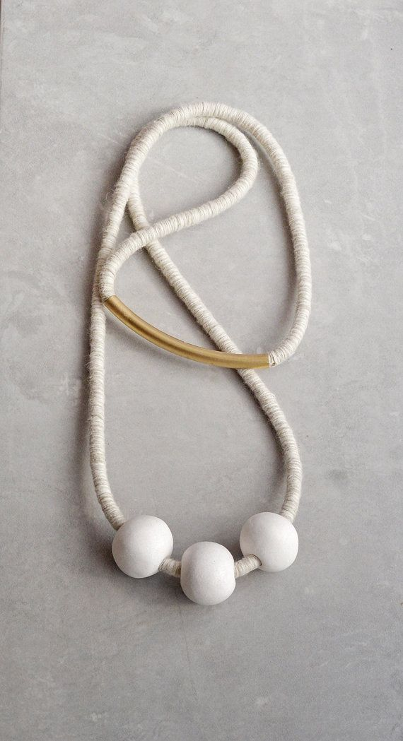 White Ceramic Necklace on Grey Cotton Rope Minimal by terrafique