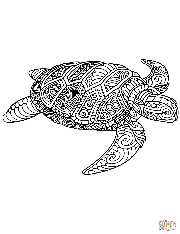 Dibujo de Tortuga marina Zentangle para colorear | Dibujos para ...