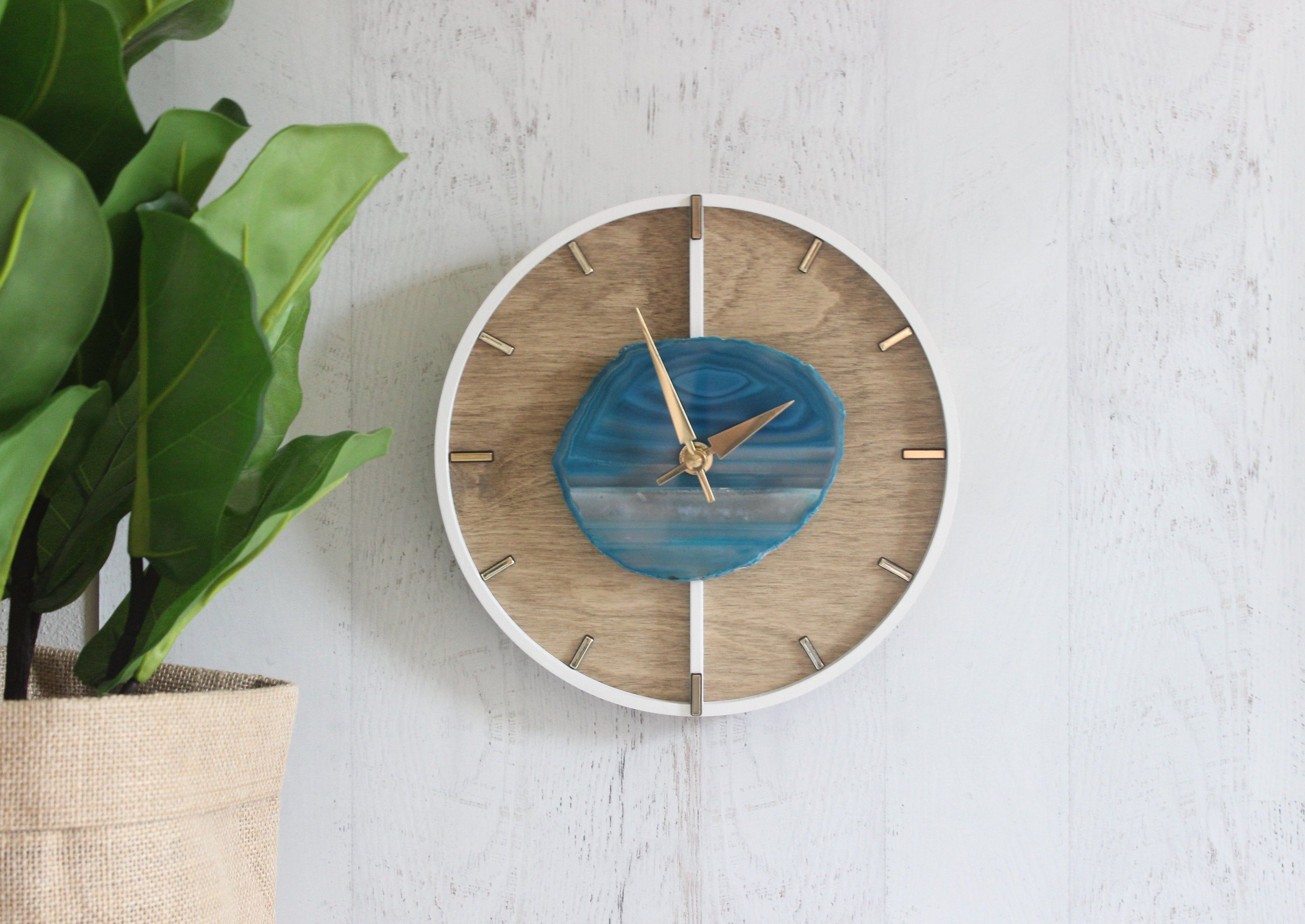 12 Layered Design Choose Your Agate Wood Wall Clock Made To Order With Images Wall Clock Wood Wall Clock How To Make Wall Clock