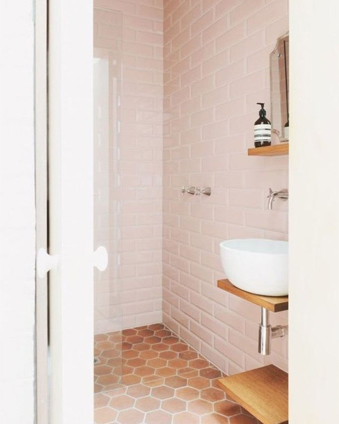 blush pink subway tile paired with