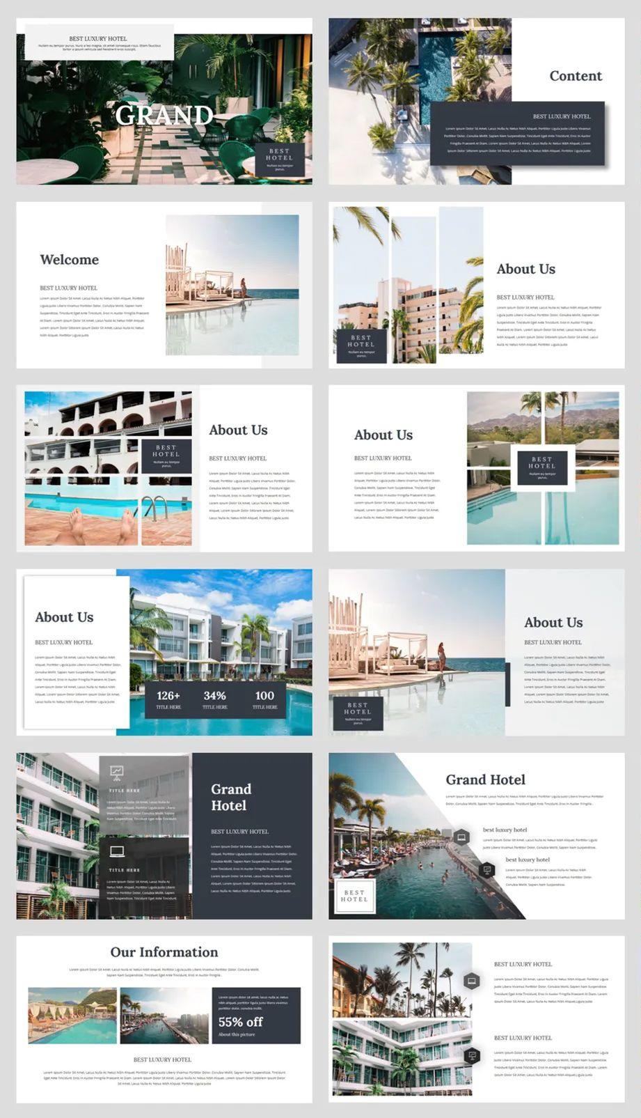 Hotel Powerpoint Template 36 Slides Presentation Design Layout Catalog Design Layout Powerpoint Presentation Design