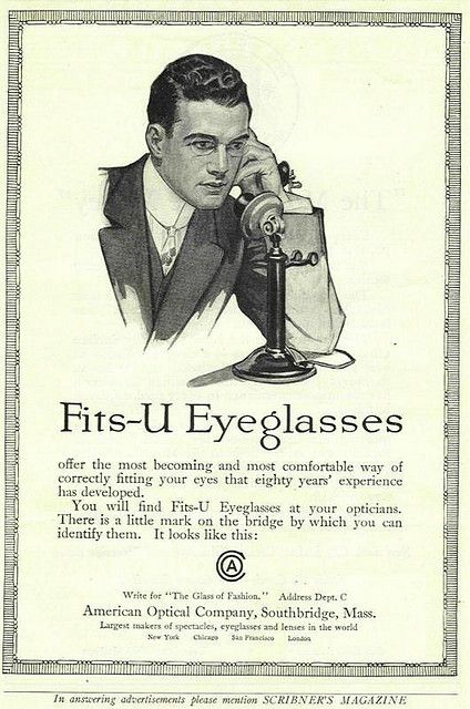 1913 American Optical Ad Fits-U Eyeglasses