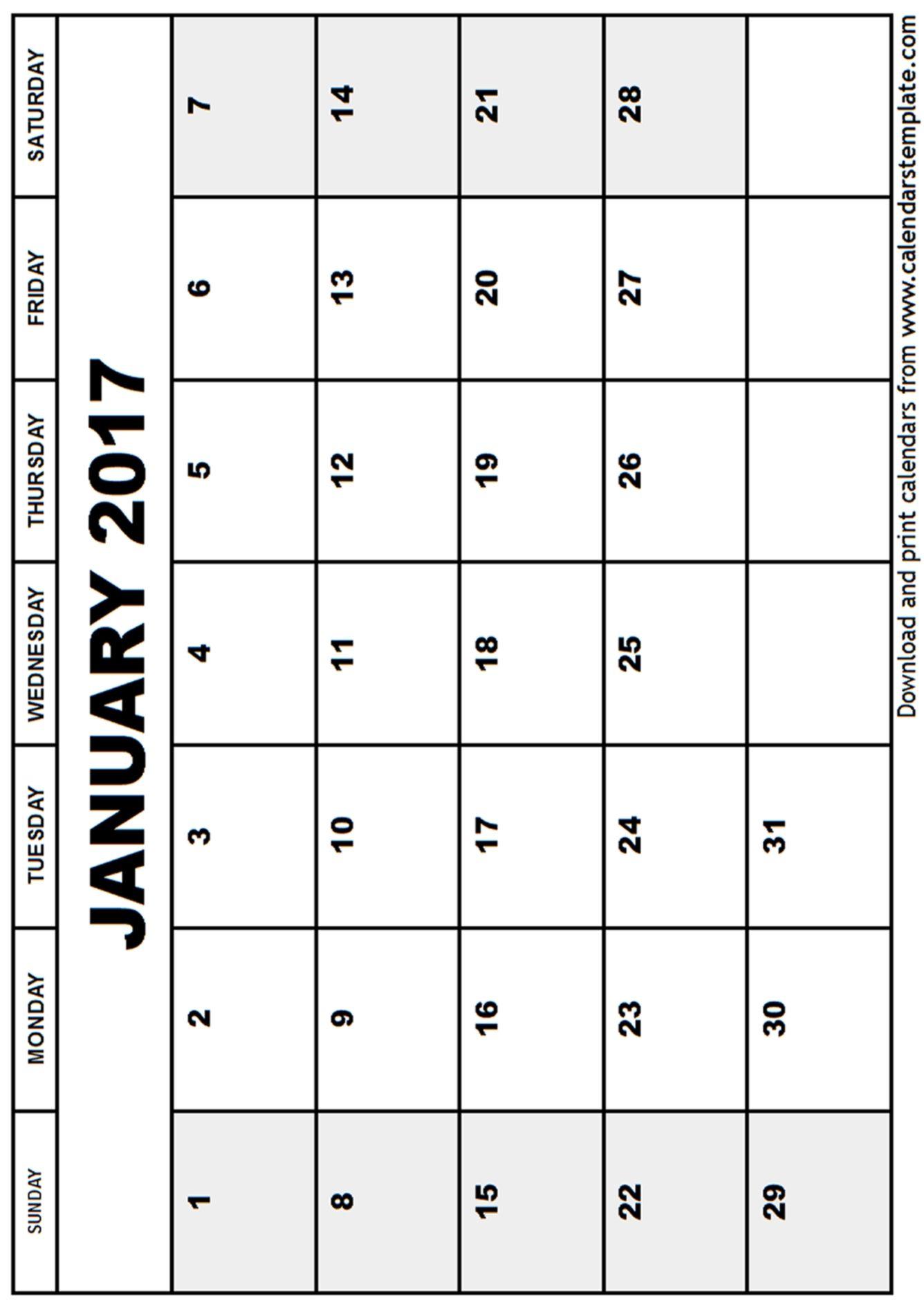 January Calendar Template Printable  January Calendar Template