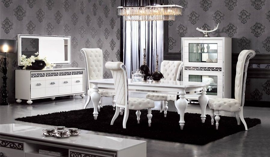 Sal n cl sico moderno en blanco y negro black ideas for Salon clasico blanco