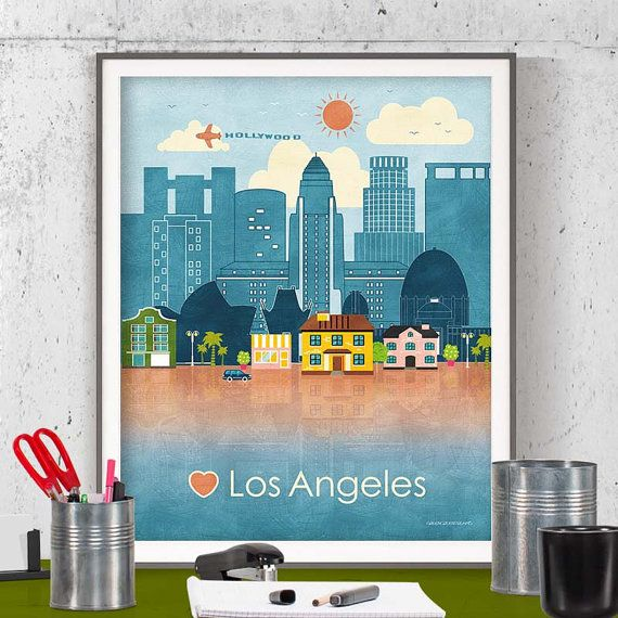 Los Angeles Wall Art instant download wall art printable printable poster los angeles